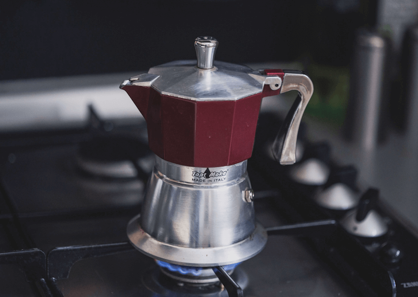 Place the Moka pot on Stovetop